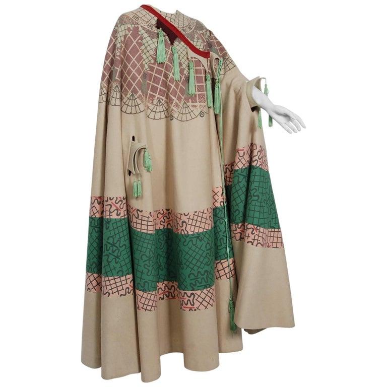 1968 Zandra Rhodes Couture Graphic Print Wool Bohemian Tassels Full-Length Cape