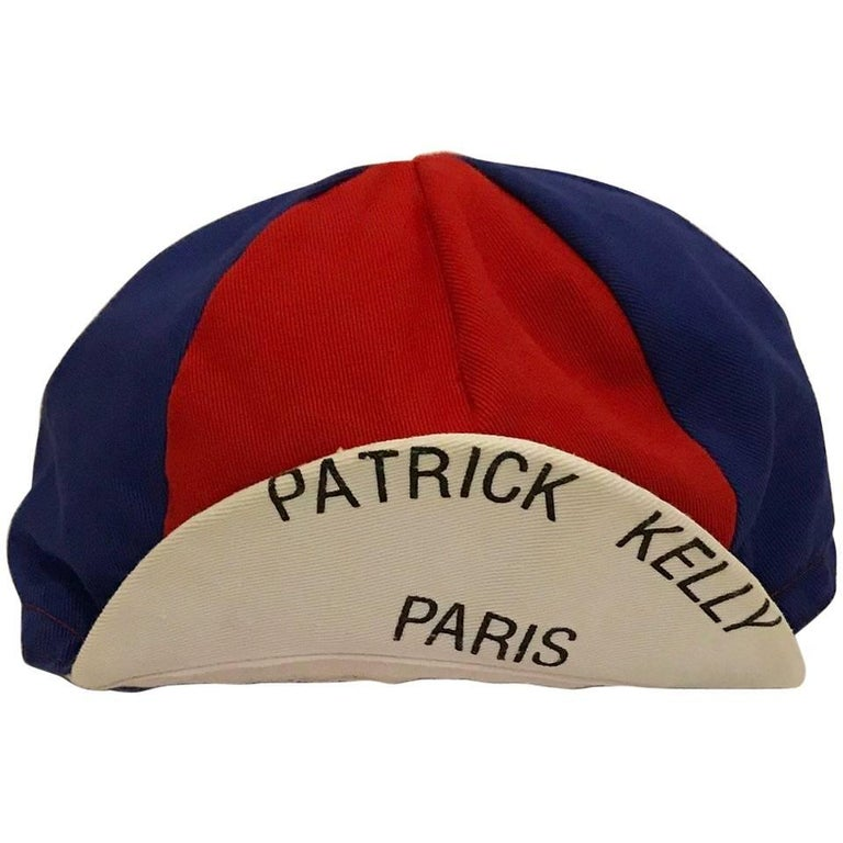 Patrick Kelly Red Blue and White Patrick Kelly Paris Cap Hat, 1980s