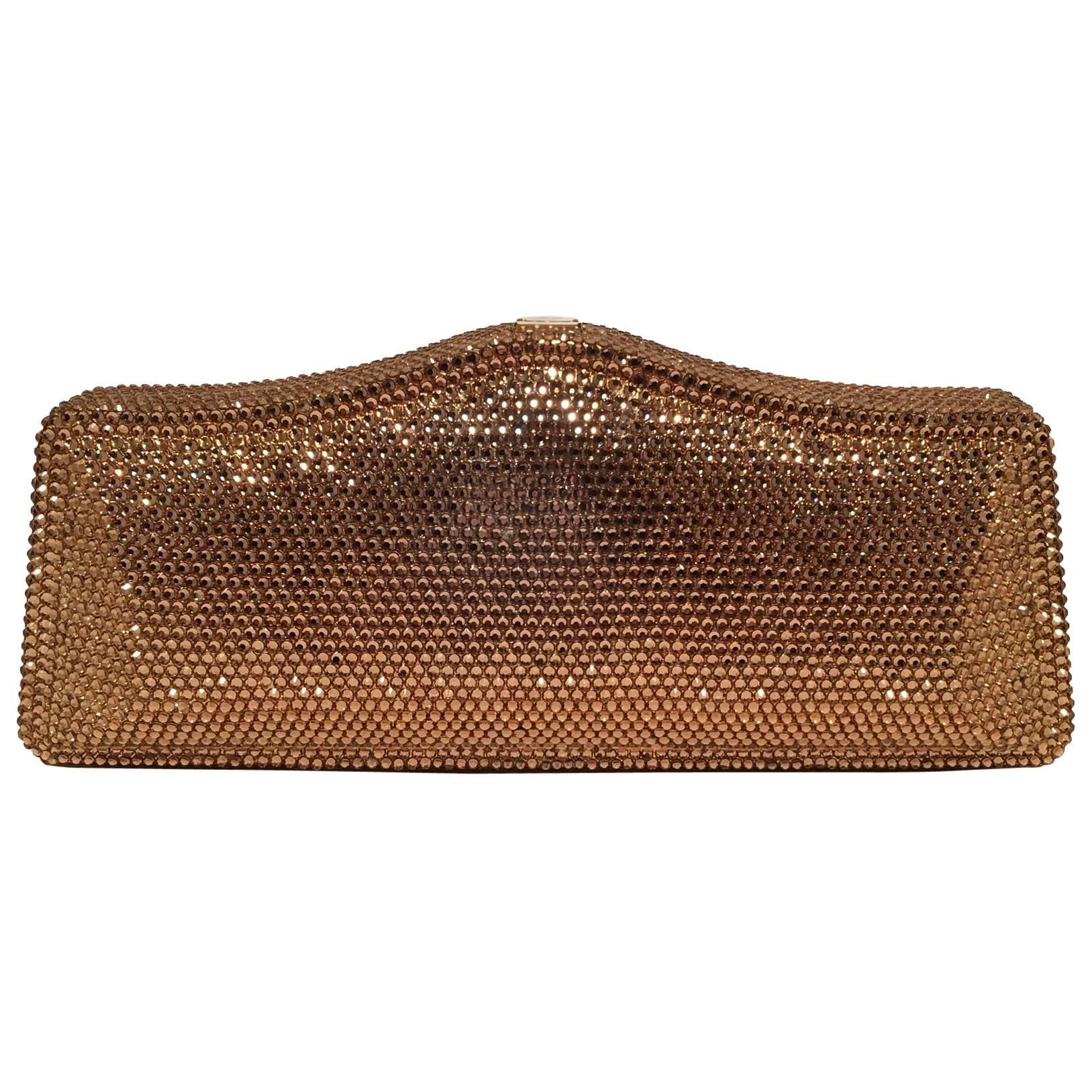 Judith Leiber Gold Swarovski Crystal Evening Bag Minaudiere Clutch