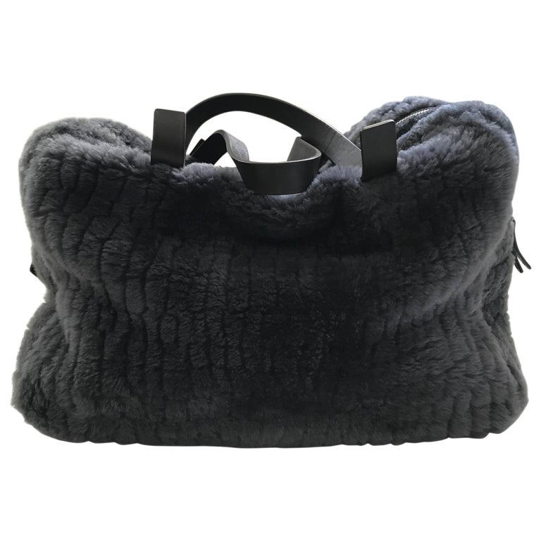 Brunello Cucinelli Pewter Grey Shearling Bag