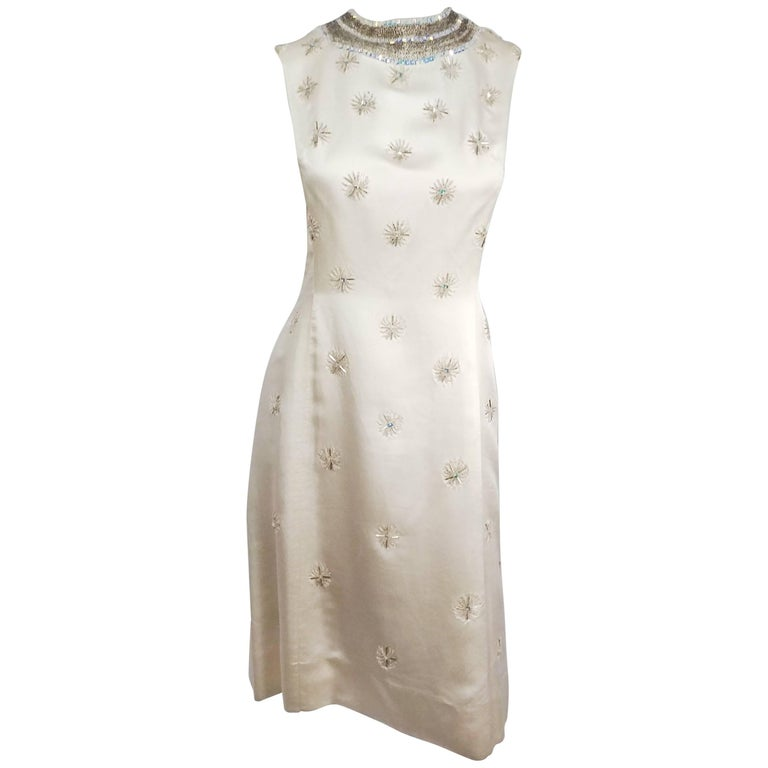 1960s Ivory Silk Beaded Cocktail Dress