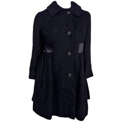 1960s Black Boiled Wool Short Coat