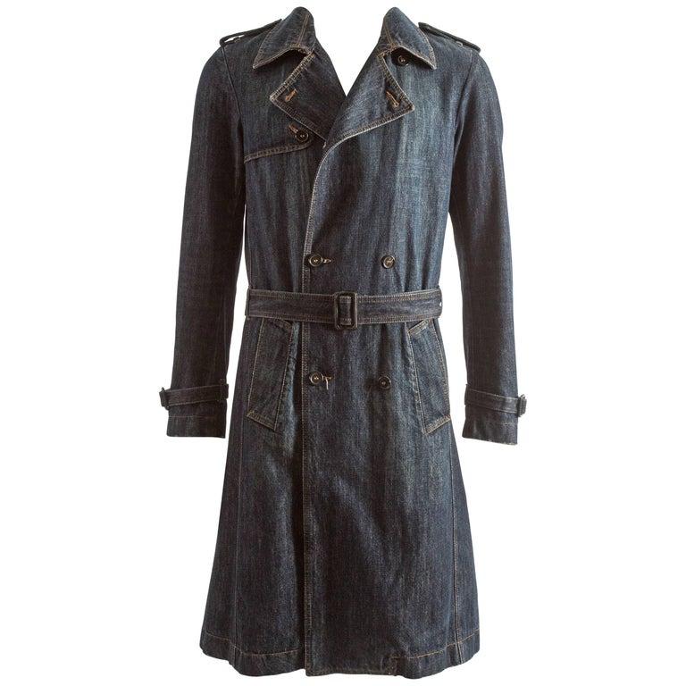 Alexander McQueen Men's blue denim trench coat