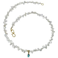 Blue Tourmaline Set on Pearl Necklace