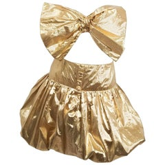 1970s Disco Gold Lamé Bow Top and Bubble Skirt Set