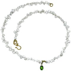 Pearl Necklace with Green Tourmaline Pendant