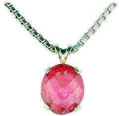 Unique Sparkling 4 Carat Pink Tourmaline Sterling Silver Pendant