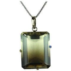 69 Carat Glistening Smoketrine Sterling Silver Pendant