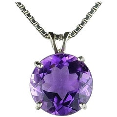 15 Carat Natural Amethyst Cocktail Sterling Silver Pendant