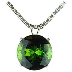 Unique 5 Carat Brilliant Green Tourmaline Sterling Silver Pendant