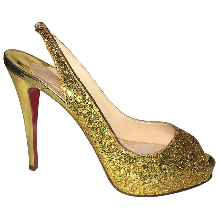 Christian Louboutin Gold Glitter Slingbacks