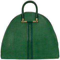 Hermes Vintage Oversize Bengale Green Tote Travel Bag