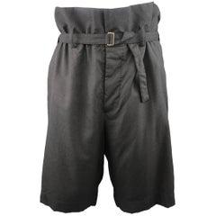 Men's MARNI Size 32 Charcoal Wool Oversized Gathered Waist Drop Crotch Shorts