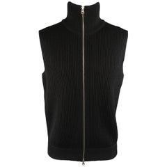 Men's MAISON MARTIN MARGIELA M Black Ribbed Knit Wool Zip Vest