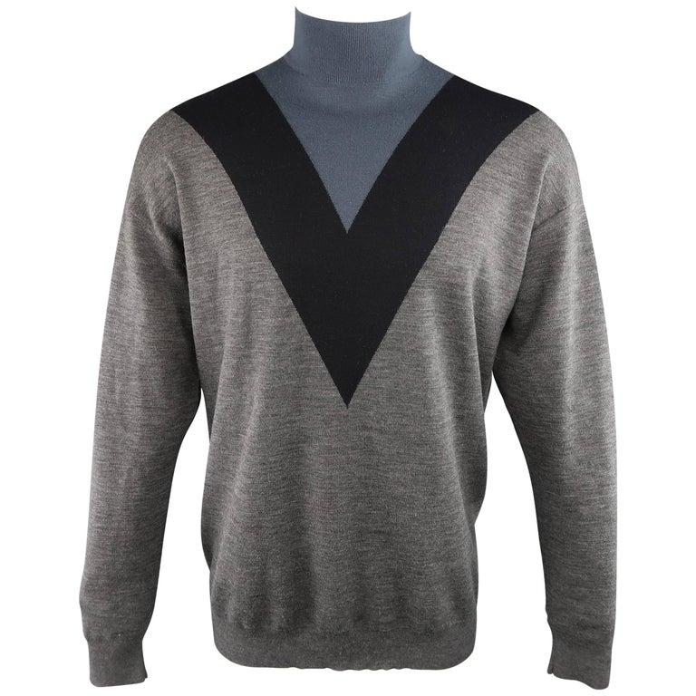 PRADA Size M Gray Black & Teal Color Block Wool Turtleneck