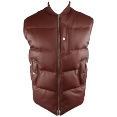 Men's HERMES 38 Burgundy Quilted Leather & Nylon Reversible Down Vest