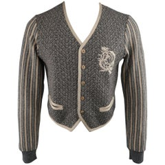 ALEXANDER MCQUEEN M Grey & Khaki Mixed Patterns Wool / Alpaca V Neck Cardigan