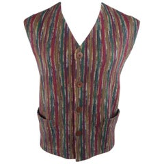 Men's Vintage MISSONI 42 Multi-Color Stripe Wool Blend Vest