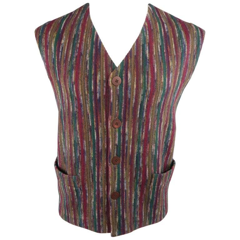 Men's Vintage MISSONI 42 Multi-Color Stripe Wool Blend Vest