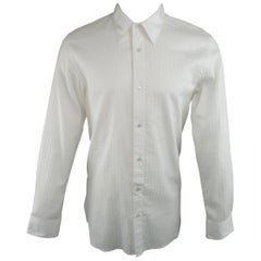 Men's JUNYA WATANABE Size XL White Grid Cotton Long Sleeve Shirt