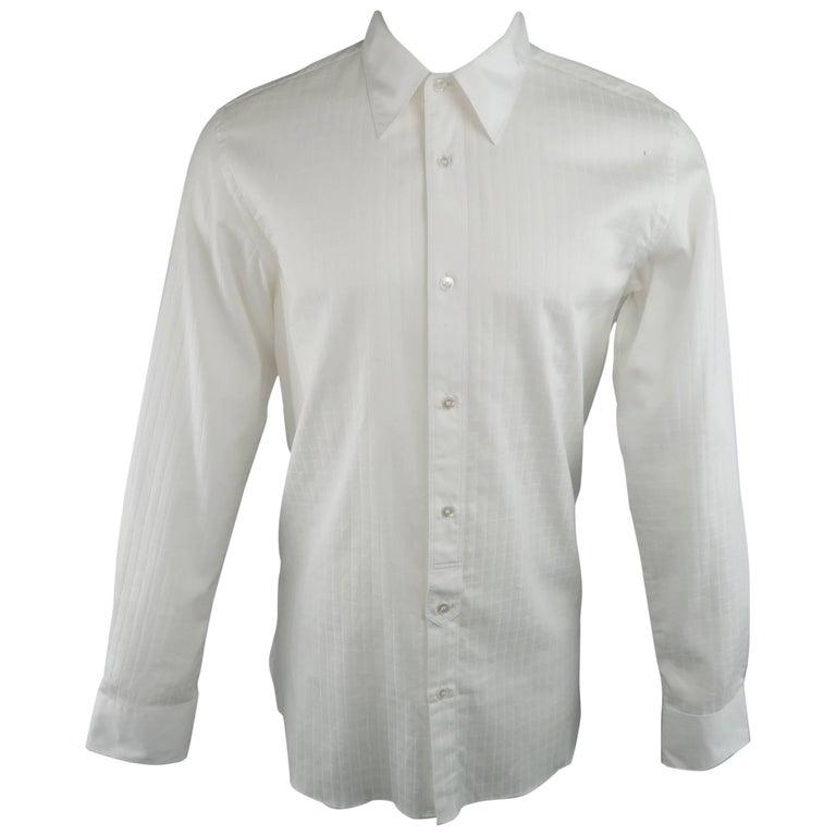 Men's JUNYA WATANABE Size XL White Grid Cotton Long Sleeve Shirt