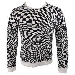 GARETH PUGH Size S Black & White Geometric Checkered Jersey Pullover Sweatshirt