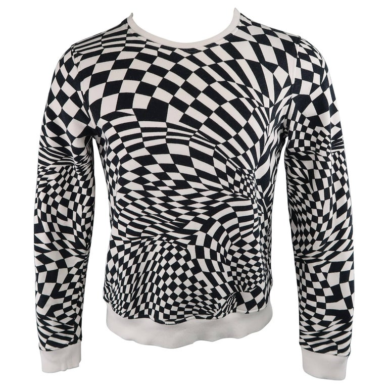 GARETH PUGH Size S Black & White Geometric Checkered Jersey Pullover Sweatshirt