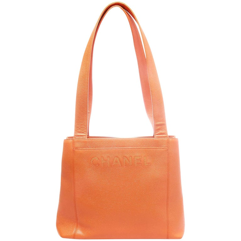 Chanel Orange Caviar Leather Logo Tote