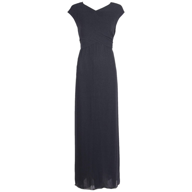 Chanel Slate Gray Crepe two piece Halter Gown with Overlay, 1998