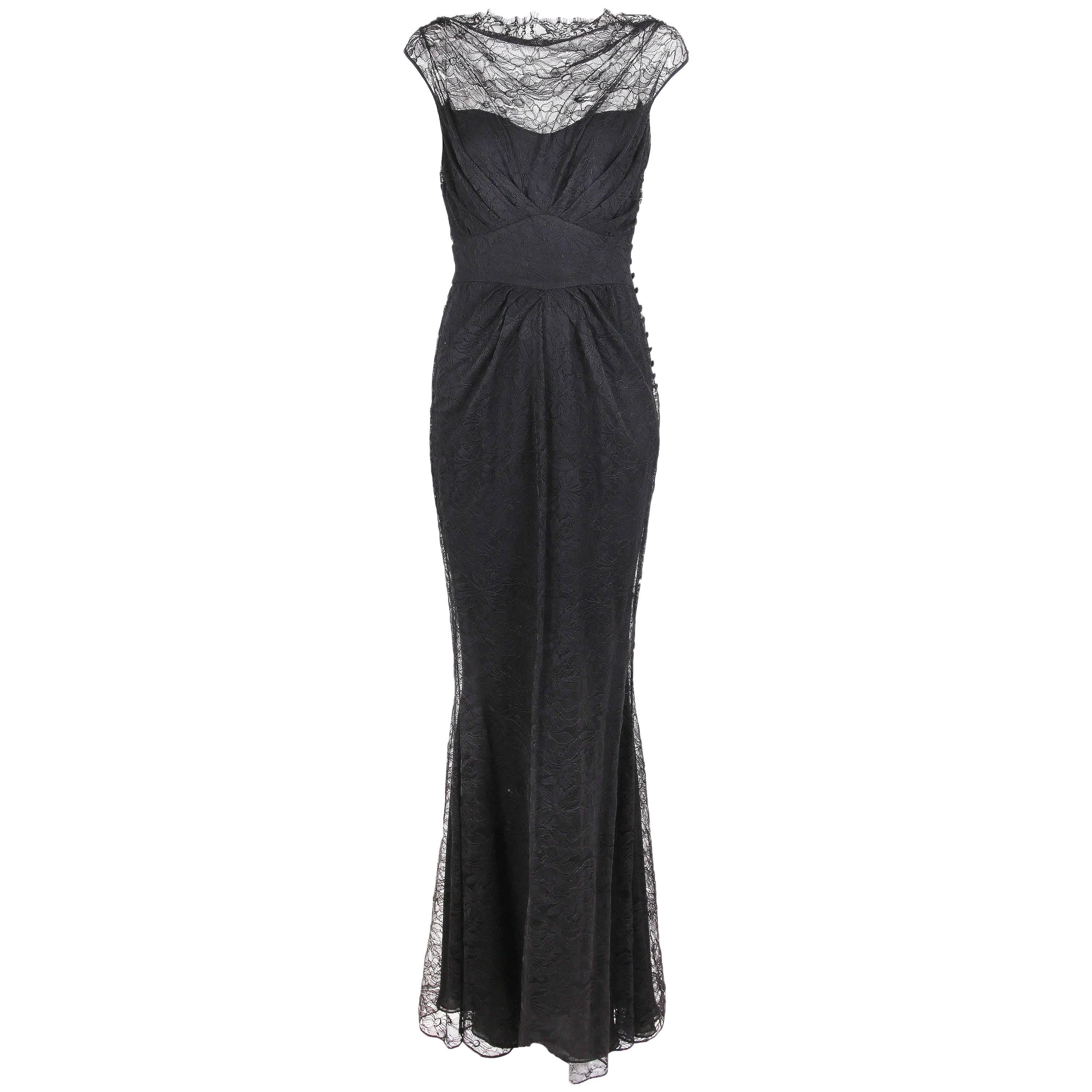 John Galliano Black Lace Cowl Neck Gown with Mermaid Hem