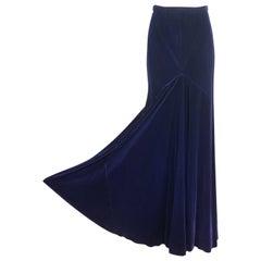 Halston Deadstock Silk Velvet Maxi Skirt, 1970s