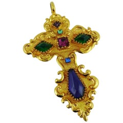 Christian Lacroix Vintage Massive Jewelled Baroque Cross Pendant