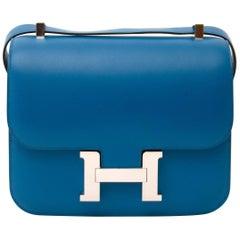 Never Used Hermes Constance III 24 Bleu Izmir Veau Tadelakt PHW