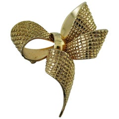 Christian Dior Gold Toned Bow Brooch