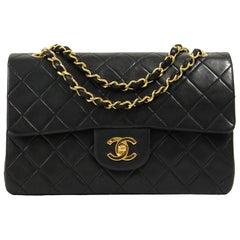Chanel Black Leather 2.55 Bag 23 cm, 1980s