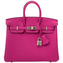 Never Used Hermes Birkin Pourpre 25 Togo PHW