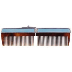 1920s Art Deco Silver and Guilloché Folding Comb with Suede Case
