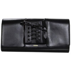 Perrin Black Calf Leather Le Corset Glove Clutch Bag