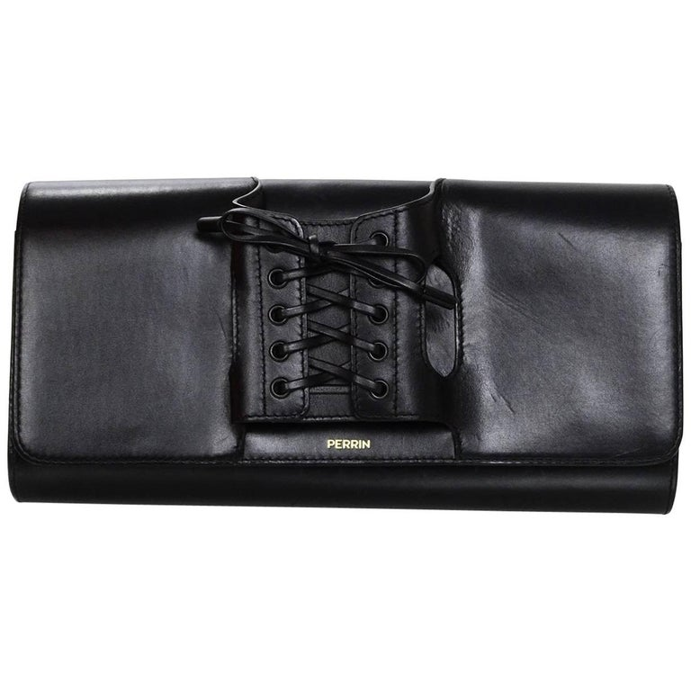 Perrin Black Calf Leather Le Corset Glove Clutch Bag rt. $1,200