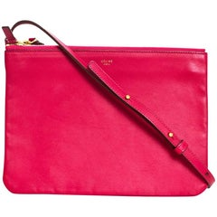 Celine Pink Leather Large Trio Crossbody Bag Clutch