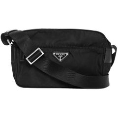 Prada Black Tessuto Zip Around Crossbody Bag