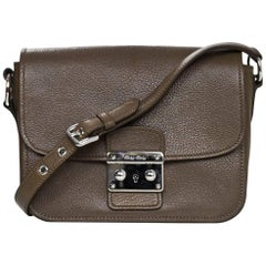 Miu Miu Bambu Taupe Leather Madras Crossbody Bag with DB