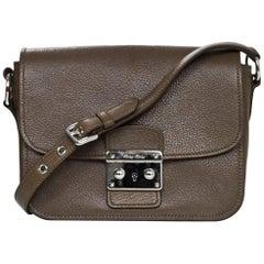 Miu Bambu Taupe Leather Madras Crossbody Bag With Db