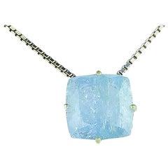 12 Carat Blue Aquamarine Sterling Silver Pendant