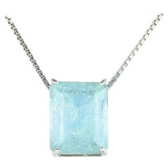 30 Carat Blue Green Aquamarine Sterling Silver Pendant