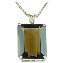 25 Carat Golden Brown Smoky Quartz Sterling Silver Pendant