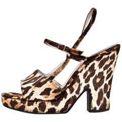Dolce & Gabbana Leopard Velvet Sandals Sz 37.5