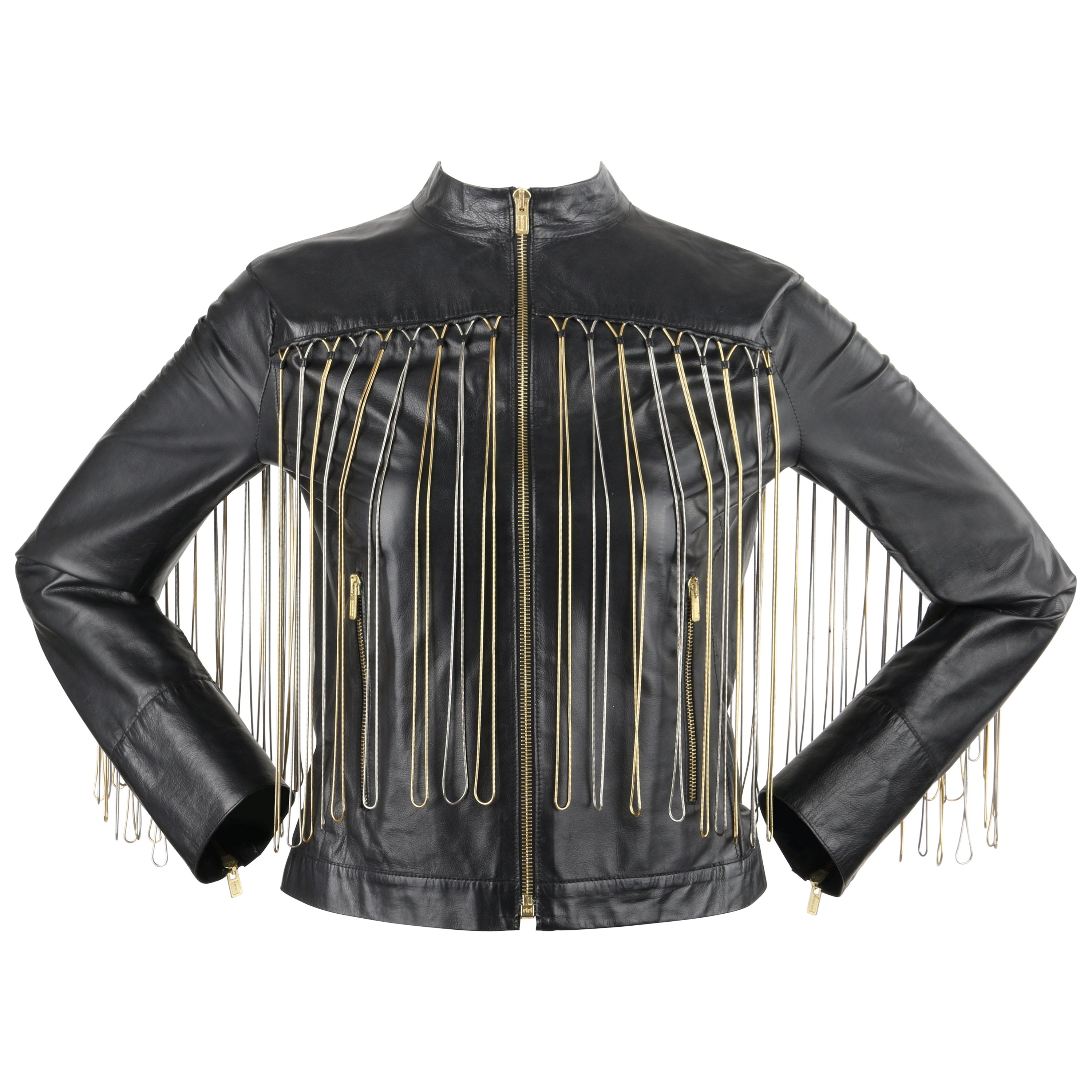 FENDI Black Leather Silver & Gold Metal Chain Fringe Moto Mandarin Collar Jacket