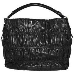 Prada Black Nappa Gaufre Leather Sacca Hobo Bag