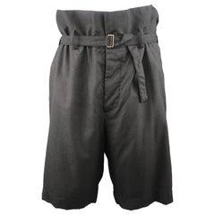 Men's MARNI Size 34 Charcoal Wool Oversized Gathered Waist Drop Crotch Shorts